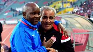 Pitso Mosimane and Faouzi Benzarti, head coach of Wydad Athletic Club at Prince Moulay Abdellah Stadium in Rabat, Morocco. Photo: EPA/STR