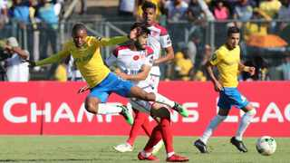 Thapelo Morena of Sundowns is tackled by Yahya Jabrane of Wydad Casablanca at Lucas Moripe Stadium on Saturday. Photo: Gavin Barker/BackpagePix
