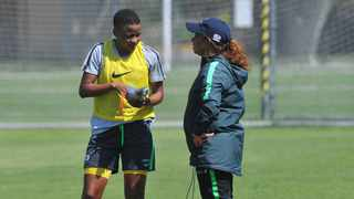 Desiree Ellis (R) named her squad for the women's World Cup. Photo: Sydney Mahlangu/BackpagePix