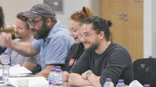 """""""Game of Thrones"""" cast during an episode reading. Picture: HBO"""