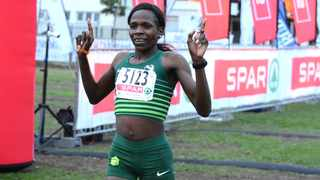 Helalia Johannes wins the Cape Town leg of the SPAR Women's 10km Challenge this morning in record time. Photo: Stephen Granger