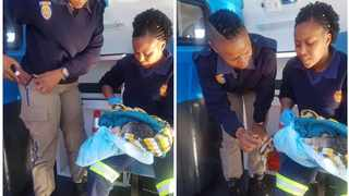 Metro police officer Lebogang Mngomezulu helped a young woman give birth on a Johannesburg pavement. Picture: Supplied