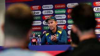 Australia coach Justin Langer during Tuesday's press conference. Photo: Reuters/Andrew Boyers