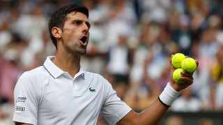 Novak Djokovic argues with the umpire in the Wimbledon final against Roger Federer on Sunday. Photo: EPA/Adrian Dennis
