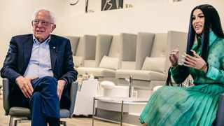 Bernie Sanders and Cardi B met to talk about politics. Picture: Twitter