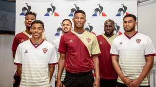 Members of Stellenbosch FC show off their new le coq sportif kit. Photo: @LeCoqSportif_SA