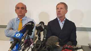 Safa CEO Russell Paul and Stuart Baxter at Friday's press conference. Photo: @BafanaBafana on twitter