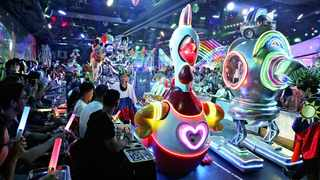 Tourists at the at the Robot Restaurant in Tokyo. Picture: Japan News-Yomiuri