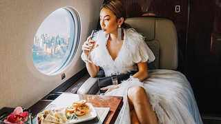 Instagram Influencer sitting pretty on a private jet.  Picture: Instagram