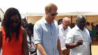 Britain's Prince Harry visit Malawi health centre. Picture: Twitter/Omid Scobie
