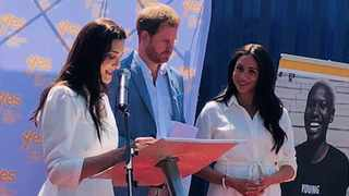 Tashmia Ismail-Saville, CEO of YES, hosts Prince Harry, Duke of Sussex, and Meghan, Duchess of Sussex, on their visit to the YES Kago Community hub in Tembisa. Photo: Supplied