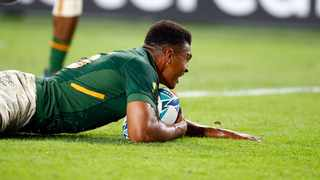 Damian Willemse of South Africa over for a try during the Rugby World Cup Pool B match between South Africa and Canada. Photo: Steve Haag Sports / Hollywoodbets