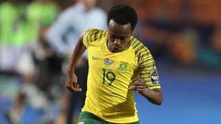 Percy Tau is set to train with Bafana in a their afternoon training session. Photo: Samuel Shivambu/BackpagePix