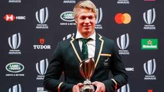 Springbok flanker Pieter-Steph du Toit poses with his trophy after winning the World Rugby Men's 15s Player of the Year at the World Rugby Awards in Tokyo on Sunday. Photo: Mark R Cristino/EPA