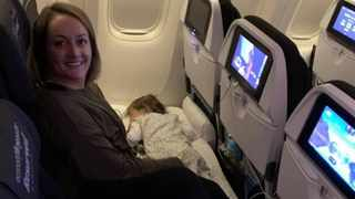 Mommy blogger Adele Barbaro has come up with an ingenious long-haul flight hack. Picture: Facebook