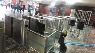 Glass access barriers were broken when vandals attacked Park Station in the Johannesburg CBD on Tuesday. Picture: Prasa Security