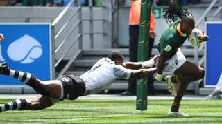 Seabelo Senatla of South Africa scores  a try against Fiji  when the two countries played their second game of the 2019 Sevens Rugby tournament at the  Cape Town Stadium. Photo: Phando Jikelo / African News Agency (ANA)