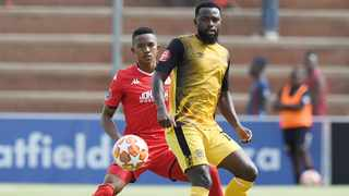 Black Leopards' Mwape Musonda protects the ball during their Absa Premiership match against Highlands Park at Makhulong Stadium in Johannesburg on Sunday. Photo: Samuel Shivambu/BackpagePix