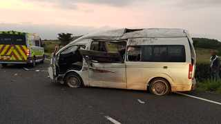 Fifteen people were injured when a taxi rolled over on the N3 highway. Picture: ER24