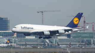 FILE PHOTO: A Lufthansa Airbus A380-800 aircraft lands at Frankfurt Airport in Frankfurt. REUTERS/Ralph Orlowski/File Photo