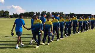 South Africa Under-19 and Sri Lanka shake hands ahead of the match on Sunday. Photo: @OfficialCSA on twitter