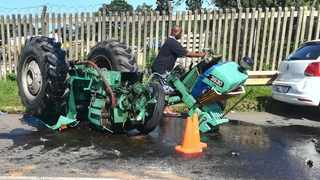 A tractor driver was crushed to death on Tuesday after his tractor overturned trapping him underneath. Picture: Supplied