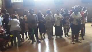 Aggrieved parents whose children were not placed at Hoerskool Akasia walked in the school to demand admission of more learners. Picture: Rapula Moatshe