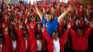 Thousands of learners at the Khayalami Primary school have received brand new school shirts made from repurposed bed linen donated by Gauteng hotels. Picture: Daniel Born