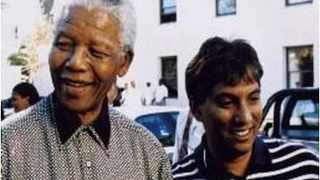 Dr Iqbal Survé with former president Nelson Mandela after his release. Picture: African News Agency/ANA