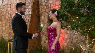"The white rose that proved to be a game-changer for Pasha Dos Santos in episode one of the second season of ""The Bachelor SA"". Picture: Supplied"