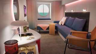 An inside look at the cabins inside Virgin Voyages Scarlet Lady. Picture: Supplied.