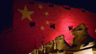 Photo taken on March 1, 2020 shows the main pylon of the Karnak Temple Complex in Luxor, Egypt. Egypt lit up on Sunday evening three famous historical sites in the country, including Saladin Citadel in Cairo, in red and golden stars to resemble the national flag of China as a sign of solidarity in combating the novel coronavirus. The other two sites are the main pylon of the Karnak Temple Complex in Luxor and the entrance of the Philae Temple Complex in Aswan. (Photo by Radwan/Xinhua)