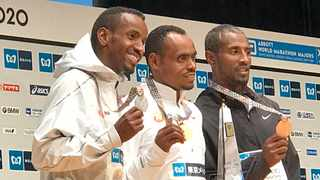 The 2020 Tokyo Marathon Awards Ceremony: Elite Men's Marathon Winner: Legese, Birhanu (Ethiopia) 2:04:15 2nd: Abdi, Bashir (Belgium) 2:04:49 3rd: Lemma, Sisay (Ethiopia) 2:04:51 Photo: @TokyoMarathon_E on twitter
