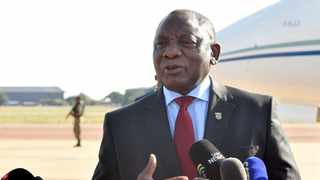 President Cyril Ramaphosa briefing media about the country's first case of Covid-19 Coronavirus at Waterkloof Airforce base in Pretoria. Picture: Kopano Tlape/GCIS