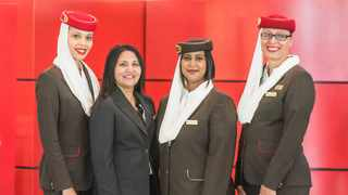 From left: Melony Moodley - Supervisor Airport Services, Jeenesha Baichan - Airport Service Manager, Catherine Govender - Airport Services Officer and Carmel Barnard Supervisor Airport Services at the Emirates International Women's Day celebrations held at King Shaka International Airport. Picture: Supplied