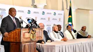 President Cyril Ramaphosa during a joint media briefing with leaders of faith based communities following a meeting on the national response to the Coronavirus outbreak held today, 19 March 2020, at the Sefako M. Makgatho Presidential Guesthouse in Tshwane. Picture: GCIS