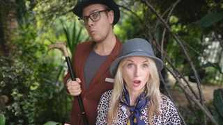 """Nathan Ro and Tammany Barton in a scene from their online kiddie series, """"The Kruger Kritters"""". Picture: Supplied"""