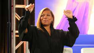 "Queen Latifah dances as Shelea Frazier, Christina Bell, Kierra Sheard, Angela Birchett and Raven Goodwin, perform live onstage following the Lifetime's ""The Clark Sisters: First Ladies of Gospel"" panel during the A&E Networks TCA 2020 Winter Press Tour at the Langham Huntington. Photo by Willy Sanjuan/Invision/AP"