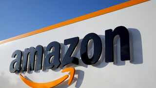 Amazon's logo at its logistics centre in Boves, France. The pandemic accelerated online shopping, the writer says.  Photo: Reuters