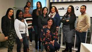 Volt Africa CEO Samantha Naidu (seated) with some members of her team. Volt Africa have won two prizes in the 2020 edition of the International News Media Association (INMA)'s prestigious Global Media Awards competition. Picture: Supplied