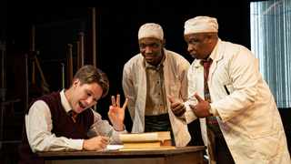 "Kai Luke Brummer, Siya Mayola and Desmond Dube in a scene from ""Master Harold and the Boys"". Picture: Clause Barnardo"