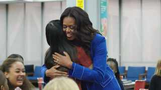 """Michelle Obama interacting with fans on her """"Becoming"""" book tour, which was the genesis of her Netflix documentary feature of the same title. Picture: Netflix"""