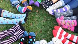 Crazy mismatched socks to raise mental health awareness for doctors. Picture: Instagram