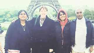 Sehsni Moodliar-Rensburg, left, and her parents Premla and Deena Thirupathi Moodliar on a previous holiday in Paris with her friend Caroline Abela.