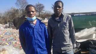 George Mphotshe and Justice Shabangu at Mushroomville in Centurion after they were freed from jail. Picture: Zelda Venter