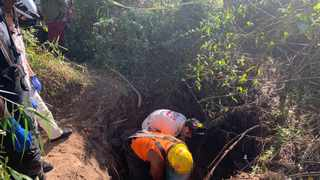 Police Search and Rescue as well as paramedics are at the scene where two boy were buried alive after a hole they were digging collapsed on them in the Lindelani township near KwaDukuza, north of Durban on Thursday. Picture: IPSS