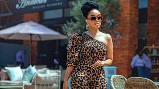 Dineo Moeketsi in a jumpsuit by Non Basic. Picture: Katlego Mokubyane.