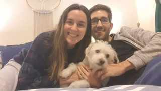 Constantia couple Robert and Melanie Durrheim, and Roger a small white Maltese-terrier cross. Picture: Supplied