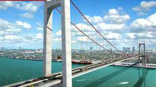 An artist's impression of the Maputo road and suspension bridge. The bridge will span 680m and stand 60m above sea level across the Bay of Maputo.