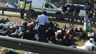 Suspects arrested following protests near OR Tambo airport. Picture: Twitter @GTP_Traffstats
